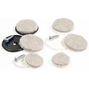 FELTAC® Heavy-Duty Screw-On Round Felt Pads