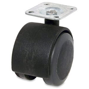 Soft Tread Dual-Wheel Furniture Caster - With Plate